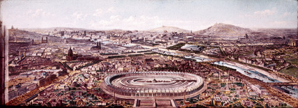 Panorama of Paris showing the 'Exposition