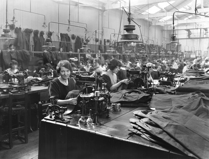 Workers in clothing department