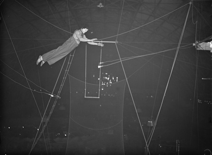 Member of the Leotaris troupe of trapeze artists, 1936