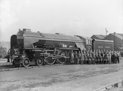 Darlington Works staff poses with No. 60130 in September 1948.