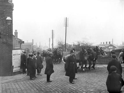 Ormskirk Horses in street.