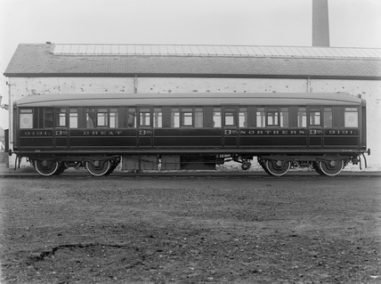 Great Northern Railway No. 3131. Third class corridor coach. Doncaster, England.