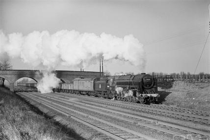 Locomotive No. 70030, near Elstree. England, 1953.