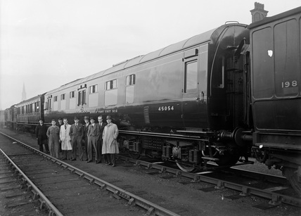 Mobile Test Unit no.2 with Group of Officials. Derby, England.
