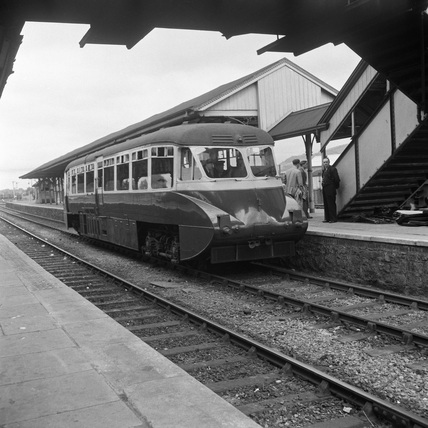 Great Western Railway Railcar W8 at Welshpool. England, 1953.