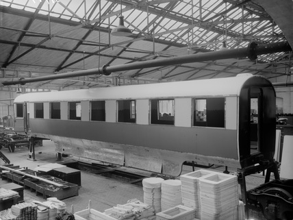Coronation train under construction. Doncaster, England, 1937.
