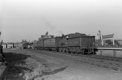 Wivenhoe train at Brightlingsea railway station. Essex, England, c.1949.