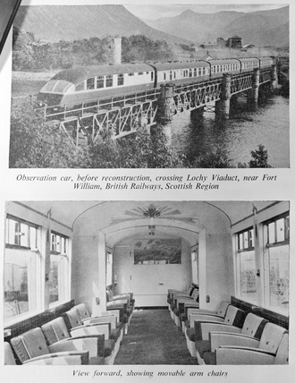 Two images showing the Observation car before reconstruction and the interior of the car, LNER. Rebuilt observation car No.1719, London and North Eastern Railway (LNER).