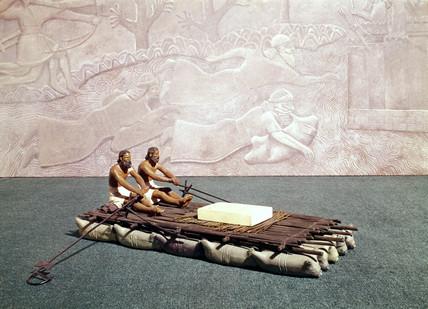 Asyrian oxhide raft, or kelek, c 700 BC.