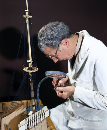 Building a model of the 'Wasa' (1628), 1981.
