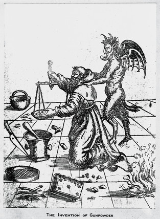 The invention of gunpowder', c 14th century.