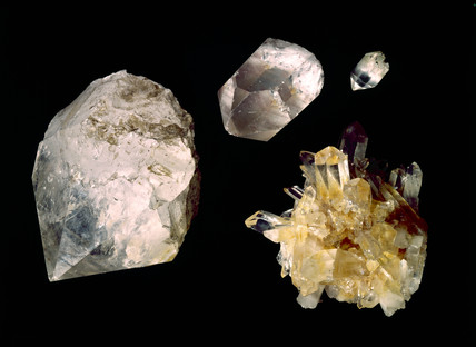 Quartz crystals.