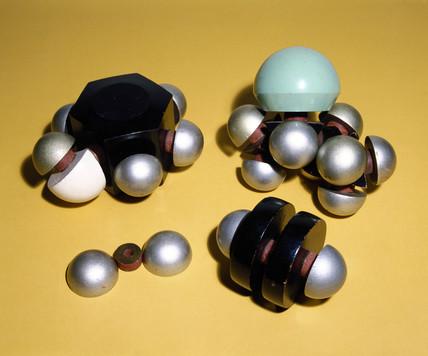Space-filling atomic models, c 1955.