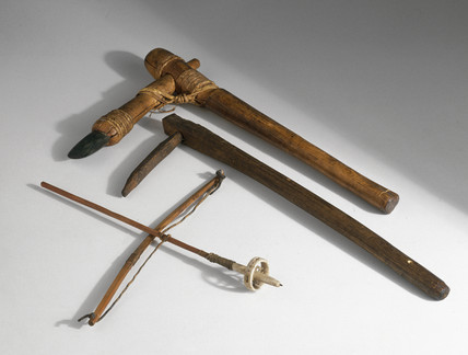Primitive hand tools, c 2000 BC- 1000 AD.