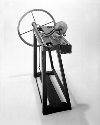 Machine for winding spiral springs, made by Joseph Bramah, c 1780.