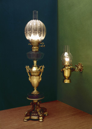 Wall Mounted Paraffin Lamps : Two domestic paraffin lamps, c 1860-1910. at Science and Society Picture Library