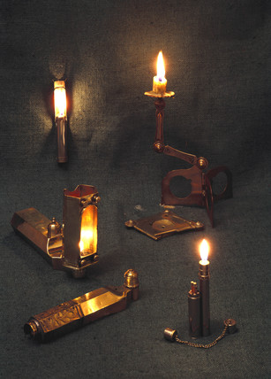 Folding candle holders and oil lamps, Kyoto, Japan, 1907.
