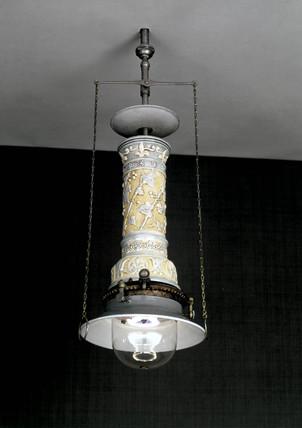Wenham recuperative inverted gas flame lamp, British, 1884.