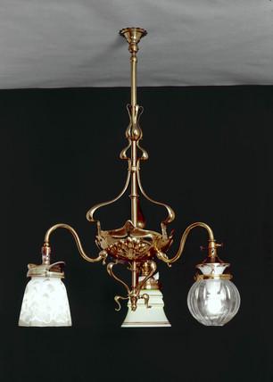 Ornamental gas chandelier, early 20th century.