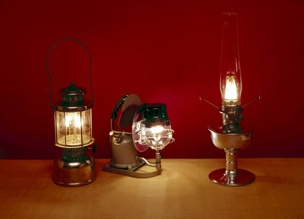 Oil vapour lamps, Canadian and British, late 19th century.