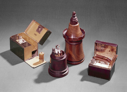 Instantaneous light boxes and phosphorus boxes, early 19th century.
