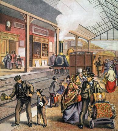 Station scene, 1850-1860.