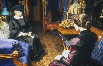 Queen Victoria in her royal saloon, 1869.