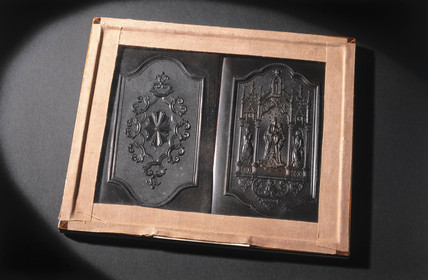 Vulcanite plaques (two in one frame), c 1840.