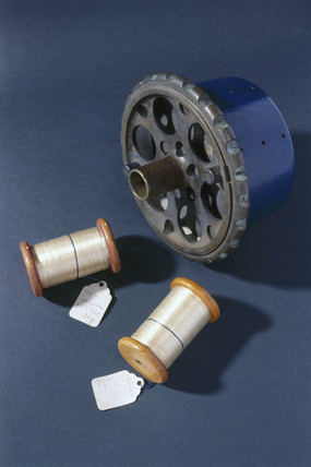 Two skeins of viscose rayon (artificial silk) wound onto reels, 1903.