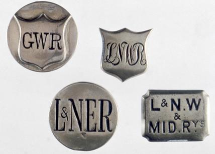 Horse brases bearing railway company initials, 1840-1921.