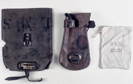 Three cash bags used on the railways, 1840-1921.