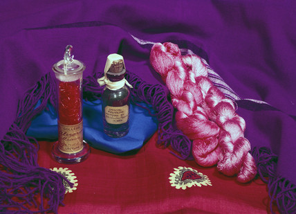 A selection of early synthetic dyes and dyed material, mid 19th century.