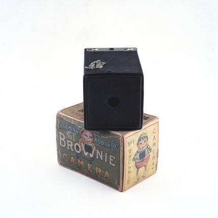 Kodak Brownie camera with original box, c 1902.