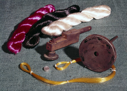 Objects relating to early viscose rayon (artificial silk) manufacture, c 1900.