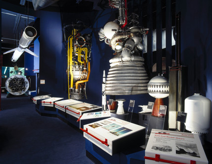J-2 Rocket Motor in the Space Gallery, Science Museum, London, c 1995.