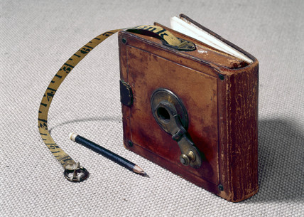 Fifty foot linen measuring tape with notebook, 1846.