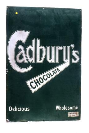 Sign advertising 'Cadbury's Chocolate', c 1920.