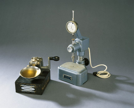 Casagrande liquid-limit apparatus, 1967, and cone penetrometer, 1980s.