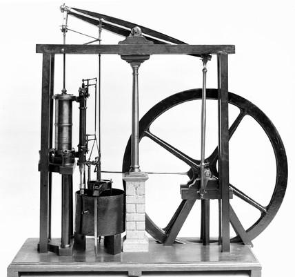 Pumping engine and beam engine, 18th century.