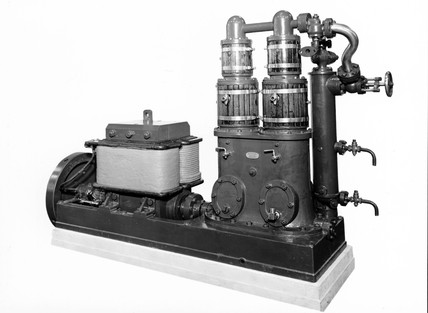 Steam engine and dynamo, c 1888.