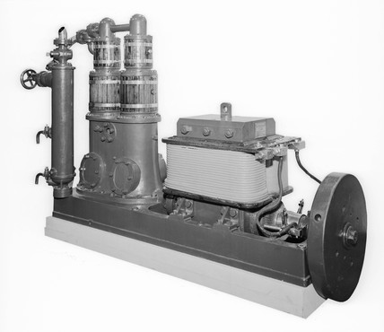 Steam engine and dynamo, c 1888.