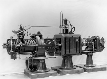 Parsons steam turbine generator, 1889.