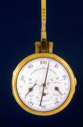 Pedometer with fob hook, 1775-1794.