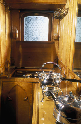 Queen Victoria's kitchen on the royal train, 1869.