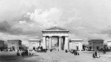 Euston Arch, Euston Station, London, April 1838.