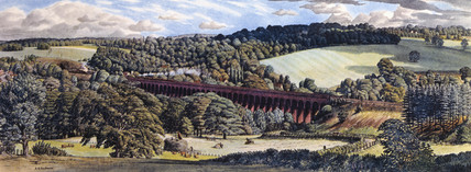 'Welwyn Viaduct, Hertfordshire', BR carriage print, 1948-1960.