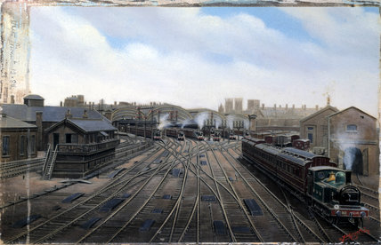 Locomotives departing York station, c 1910.