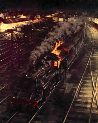 Expres Freight. Original oil painting for