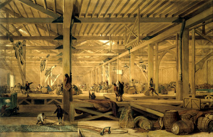 Interior of Pickford's parcel depot, Camden Town, London, c 1850.