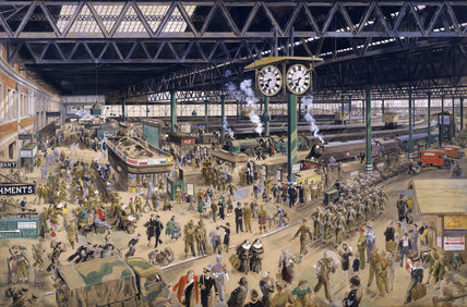 Waterloo Station - war, watercolour by Helen McKie, 1948 (NRM / Pictorial Collection / Science & Society)